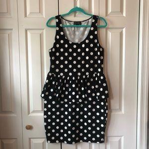 Forever 21 Black & White Polka Dot Peplum Dress